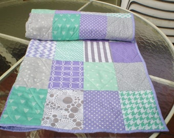 Handmade Baby Quilt, Mint, Grey, Purple, patchwork Crib Quilt, Baby Girl Quilt, Crib Bedding, Chevron Quilt, lavender, toddler, Mint n Lilac