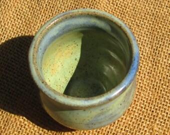 Pottery Mini Bud Vase - Light Green and Blue
