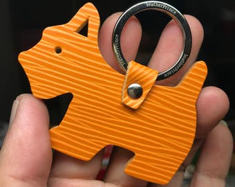 Special Offer - Ready Stock - Small size - 10th Anniversary silhouette dog Epi leather keychain ( Orange )