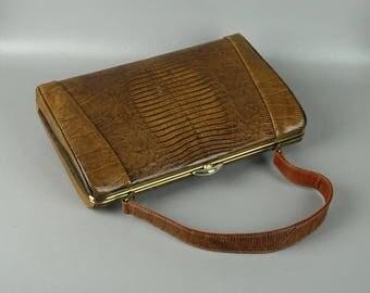 Vintage 1960s Handbag Tan Lizard Purse by Escort