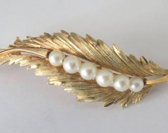 Vintage gold and pearl brooch, vintage pin