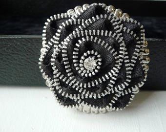 Flower Belt Buckle - Womans Black Belt Buckle- Zipper Flower Belt Buckle- Round Silver Belt Buckles- Unique Belt Buckle- Gift Idea for Women