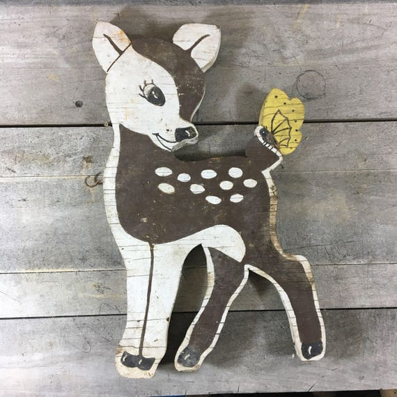 Vintage Bambi Deer Fawn with Butterfly Wooden Lawn Ornament