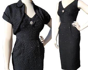 Vintage 50s Wiggle Dress & Bolero Jacket Set LBD w/ Rhinestone Trim – S / M