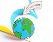 Custom Listing! You Are Here, Enamel Pin Badges, Earth Pin, Lapel Pins, Earth Pin Badge Set, RockCakes, Brighton, uk