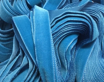 Vintage French Rayon VELVET Ribbon Taffeta Back -TURQUOISE by the yard 5/8 inch