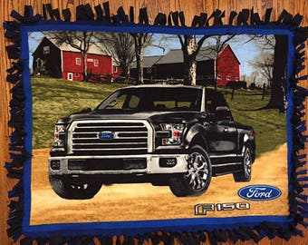 Ford Truck NoSew Fleece Blanket