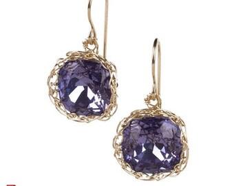 On SALE 20% - Jewelry pattern earrings , EVE vintage dangle earrings tutorial , how to crochet wire cabochon , dangle swarovski earrings in