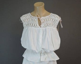 20% Sale - Vintage White Cotton Corset Cover Camisole 38 bust, Early 1900s Edwardian