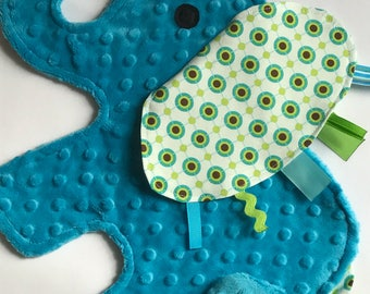Metro Dots Turquoise Elephant Baby Sensory Security Blanket