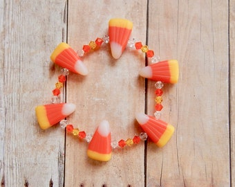 Candy Corn Bracelet - Halloween Jewelry