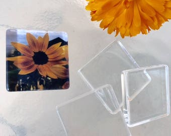 1 inch 50 Clear Flat Smooth Glass Tiles Squares  Pendant Making 25mm Art Cabochons Pendant Jewelry Making Supplies Party Favors Transparent