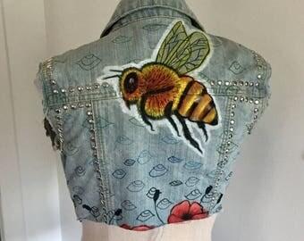 Hand painted, bee, jacket, vest, denim, denim vest, denim jacket, studded, studs, custom jacket