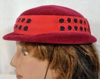 Vintage Zephyr Cloche Brimmed Hat - Elastic Chin Strap - Made in France - Velour with Wide Red Grosgrain Ribbon Band and Black Cutouts -