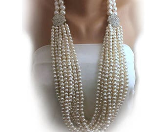 Multi Strands Layered Pearl Necklace with Crystal Clasp