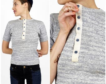 Vintage 1970s Marled Grey Wool Sweater Blouse with Button Front by Alvin Duskin | Small