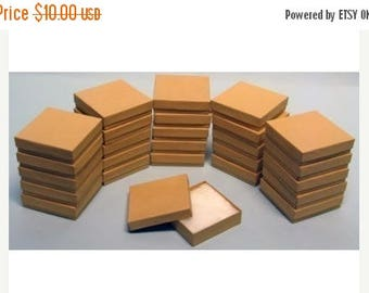 STOREWIDE SALE 20 Pack Kraft 3.5 X 3.5 X 1 Inch  Size Cotton Filled Jewelry Presentation Gift Boxes