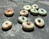 Handmade ceramic beads Ceramic beads Porcelain clay beads for jewelry light green beads