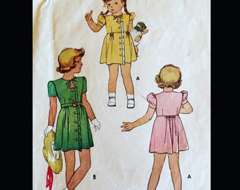 Vintage 40s Puff Sleeve Button Front Ruffled Keyhole Neckline  Girl's Day Dress Sewing Pattern 6268 Size 6