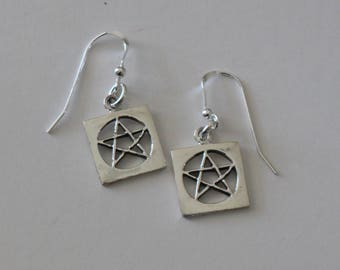 Sterling Silver Pentacle Earrings - Pagan, Wicca, Celtic
