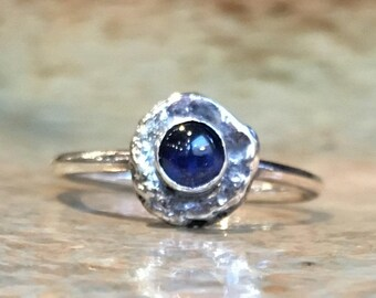 Birthstone ring, Blue sapphire ring, sterling silver ring, stacking ring, simple ring, dainty ring, delicate ring, stone ring - Fancy R2487