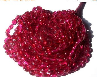 Sale 45% off Full 14 Inches - Super Finest AAA Rubelite Pink Corundum Quartz Smooth Polished Ovals Beads Size 8x7 to 10x8mm approx approx