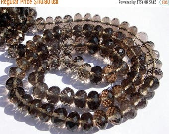 Sale 45% off Full 16 Inches - Finest Quality Genuine AAA Smoky Quartz Micro Faceted Rondelles Large Size 7 - 9mm approx