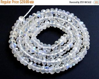 50% Off Sale Blue Flashy Rainbow Moonstone Micro Faceted Rondelles Length 14 Inches Size 3.5mm