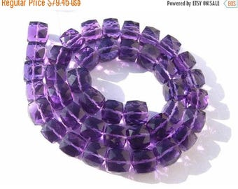 50% Off Sale Superior Quality AAA Amethyst Faceted 3D Cubes Briolette Full 7 Inches Size 7 - 8mm approx