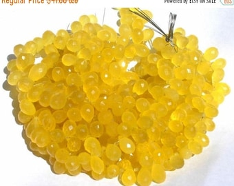 50% Off Sale 1/2 Strand - Finest Quality So Gorgeous AAA Butterscotch Yellow Chalcedony Micro Faceted Teardrop Briolettes Size 11x6 - 9x6mm
