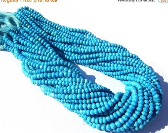 50% Off Sale Sleeping Beauty Genuine Turquoise Micro Faceted Rondelles Size 3.5 - 4mm Length 14 inches Very Very Gorgeous