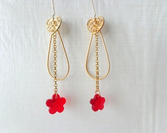 Missmatched Red earrings, gold brass earrings, flower earrings, heart earrings