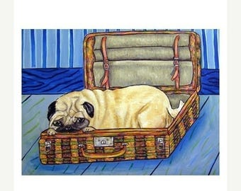 20 % off storewide Pug in a Suitcase Dog Art Print