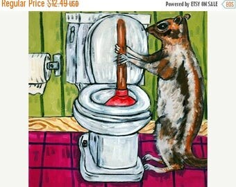 20% off storewide Grey Squirrel Plunging a Toilet Art Tile Coaster Gift