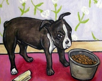20% off Boston Terrier Eating from a Dog Bowl Art Tile