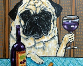 20% off 6x6 tile , PUG, PUG TILE,wine, wine art, wine print pug art, coaster, dog , dog art, dog tile
