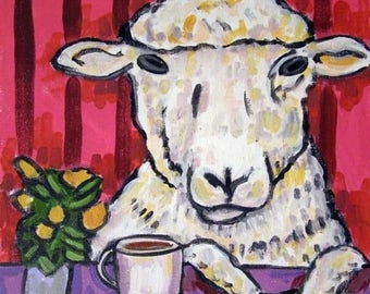 20% off Ram at the Coffee Shop Sheep Art Tile