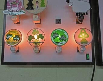 Shamrock x5 Night Lights - Glass St. Patrick's Night Lights - Multiple Shamrocks on Each Nightlight