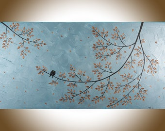 Copper art copper wall art Copper home decor large wall art Original love birds acrylic painting living room wall art by QiQigallery