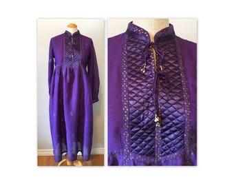 Vintage 70s Purple Violet Hippie Chic Dress S Semi Sheer Gauze