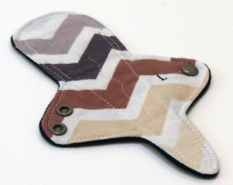 Reusable Cloth Menstrual Pad Thong liner with Windpro - Light Flow adjustable thong liner - cotton flannel top - Earthen Chevron