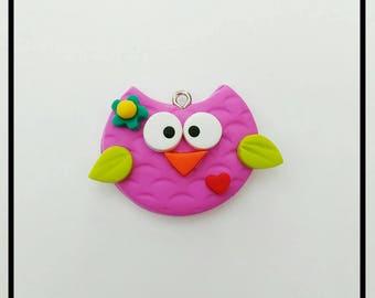 New Fucshia Polymer Clay Owl Charm - Purple Owl Pendant-  Owl Chunky Charm- Owl Bow Center - Bright Color Owl Flatback