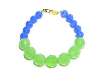 Blue light green faceted glass stone beaded stacking layering bracelet