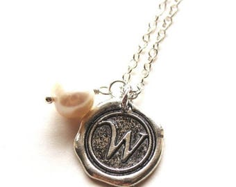 HALF PRICE SALE Alphabet personalized initial letter W charm silver and white pearl necklace