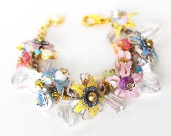 HALF PRICE SALE Beaded flower charm bracelet Clearance