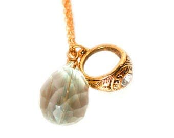Vintage golden ring with crystal charm and rutilated stone gold plated necklace