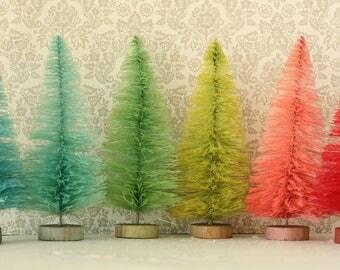 Dyed Bottle Brush Trees - 6 Pastel Gumdrop 4 Inch Vintage Style Bottle Brush Christmas Trees - Miniature Display - 6 Dollhouse Sisal Trees