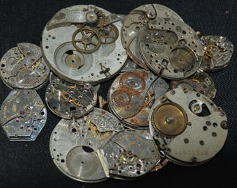 Destash Steampunk Watch Parts Movements Cogs Gears  Assemblage MR 11