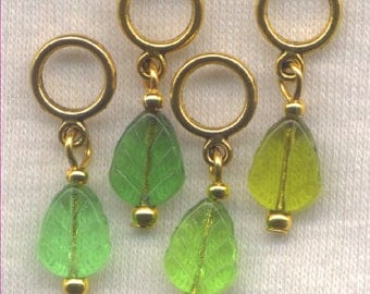 Leaves Knitting Stitch Markers Green Pressed Glass Leaf Lace Set of 4/SM70D