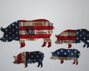"""Americana Flag Iron On Pigs 6"""" Patch Applique"""